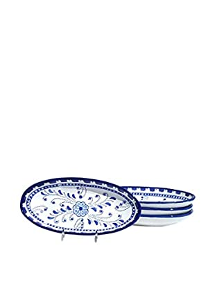 Le Souk Ceramique Azoura Set of 4 Small Oval Platters, Blue/White