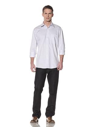 XMI Men's Check Dress Shirt (Blue)