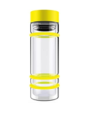 AdNArt Bumper Bottle Double Wall Glass Bottle with Tea Infuser and Bumpers (Yellow/Yellow Lid)