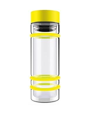 AdNArt Bumper Bottle Double Wall Glass Bottle (Yellow/Yellow Lid)