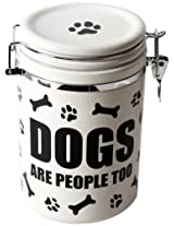 """DEI Stoneware Just Dogs Collection """"Dogs Are People Too"""" Treat Jar"""