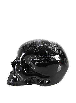D.L. & Co. Ceramic Skull with Flourish, Black/White