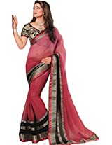 Shaded Pink Chiffon Party Wear Saree Raw Silk Embroidered Contrast Black Blouse
