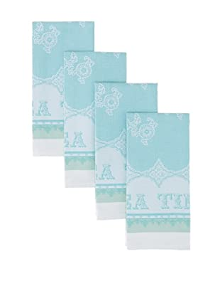 Garnier-Thiebaut Set of 4 Cup of Tea Kitchen Towels (Turquoise)