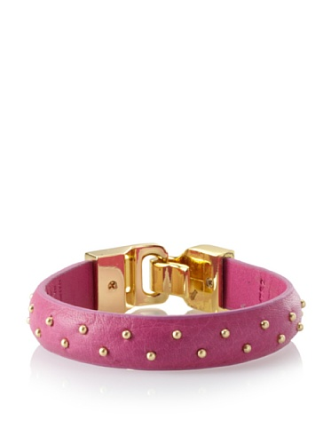 Linea Pelle Welted Nailhead Leather Bangle, Pink