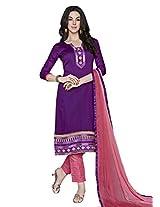 Lavis Women's Purple Cotton Dress Material
