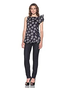 RED Valentino Women's Polka-Dot Top with Ruffles (Blue)
