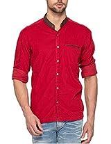 SPYKAR Men Cotton Red Casual Shirt (Large)