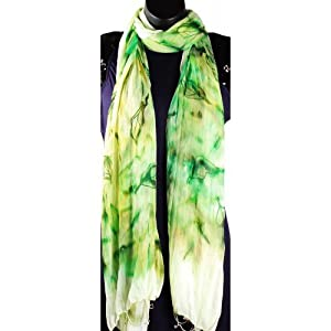 Monapparel Abstract Tie And Dye Effect With Leaf Motifs