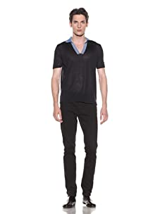 Halston Men's Short Sleeve Polo with Contrast Trim (Navy)