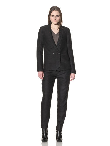 Rogan Women's Double-Breasted Blazer (Charcoal)