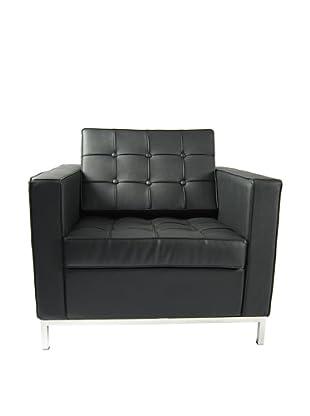 Manhattan Living Leather Button Armchair, Black
