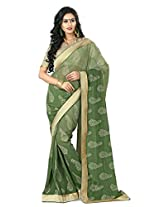 Green Color Chiffon Saree with Border and Blouse 4018