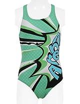 Arena Marseille Textile Swimsuit, Youth 10 Years (Black/Irish Green)