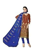 Suchi Fashion Embroidered Maroon & Blue Chanderi Dress Material