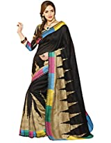 ISHIN Bhagalpuri Silk Black Printed Saree