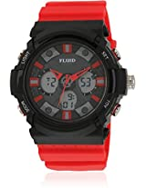 Dmf-008-Rd01 Red/Black Analog & Digital Watch Flud