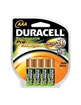 Duracell Pre Charged Rechargeable Nimh 4 AAA Batteries ideal for High-drain Items Such As Digital Cameras Gaming Devices and Portable Audio Products