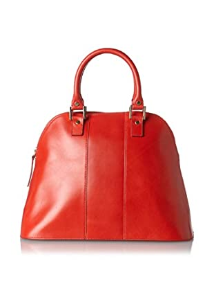 LaLucca Women's Rebekah Leather Satchel, Red, One Size