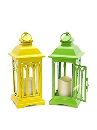 Melrose Set Of 2 Lanterns With LED Candles, Green/Yellow