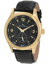 Lucien Piccard Men's 11606-YG-01 Grande Casse Black Dial Black Leather Watch