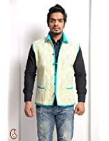 Jaipuri Cotton Quilted Block Print Reversible Jacket GJCK1309 - For Men - L