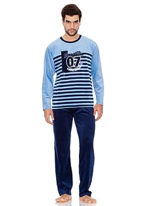 Blue Dreams Pijama Caballero Tundosado (Azul)