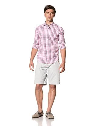 Haspel Men's Puckered Plaid Shirt (Pink Plaid)