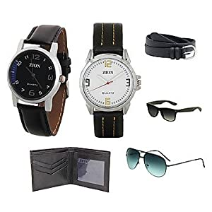 Zion Combo Of 2 Men Watches Belt Wallet And 2 Sunglasses ZDC 108