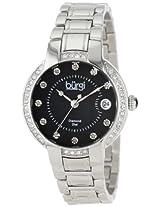 Burgi Women's BUR077SSB Stainless Steel Diamond Date Bracelet Watch