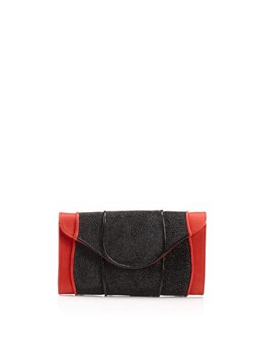 Khirma Eliazov Leather & Stingray Envelope Clutch (Red)