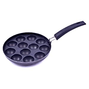 Tosaa Non-Stick 12 Cavity Appam Patra with Handle, 21cm