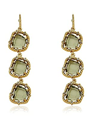 Riccova Sliced Glass Sliced Black Glass Triple Drop Earrings with CZs