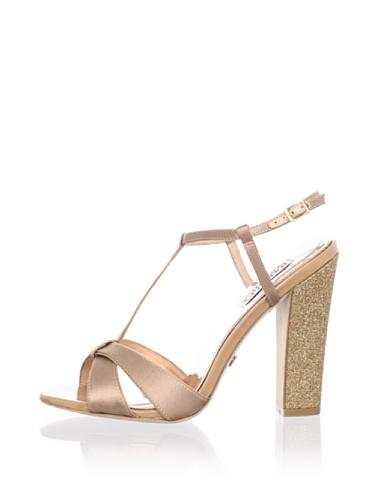 Badgley Mischka Platinum Women's Jenie T-Strap Sandal (Natural)