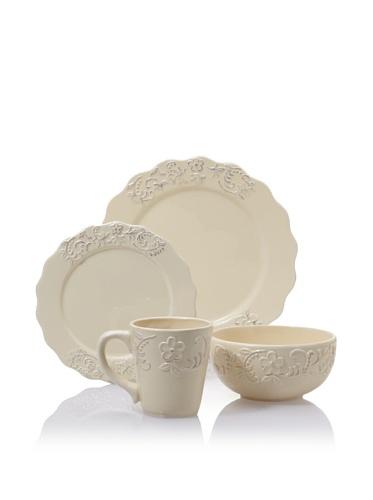 American Atelier Bianca Petals 16-Piece Dinnerware Set (Cream)