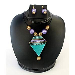 Anikalan Designs Turquoise Kite Pendant Terracotta Necklace Set