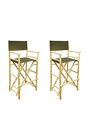 ZEW, Inc. Set of 2 Bamboo High Director Chairs, Black