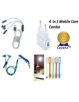 Intex eco Compatible Ceritfied Premium Mobile Care Combo Kit of Multipurpose FAST USB 2Amp Travel Adapter / Charger, 3 pin cable with LED , Zipper Stereo Earphones, USB LED Light