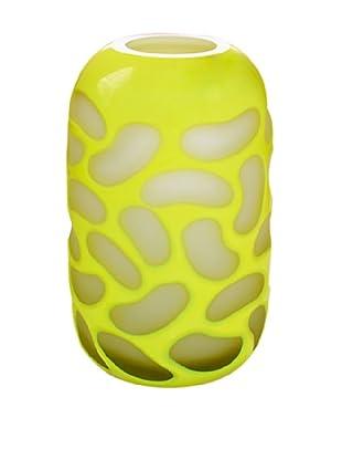 Jozefina Art Glass Fusion Vase, White/Yellow