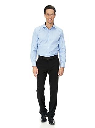 Vincenzo Boretti Baumwollhemd - Regular Fit, gestreift, bügelfrei (Blau/Weiß)