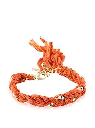 Ettika Rust Braided Vintage Ribbon & Rhinestone Bracelet