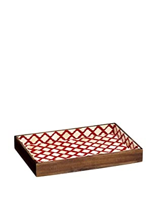 Mela Artisans Hand Crafted Inlaid Bone Lattice Tray, Terra Cotta