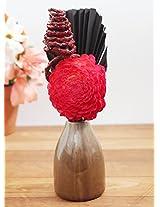Deco Aro Red Floral Arrangement in Pot - NCP091-NAR078025