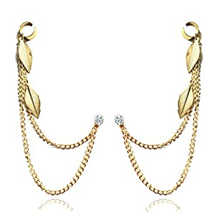 Via Mazzini Spring Leaves Golden Chains Ear Cuff Earrings for Women (1 Pair)