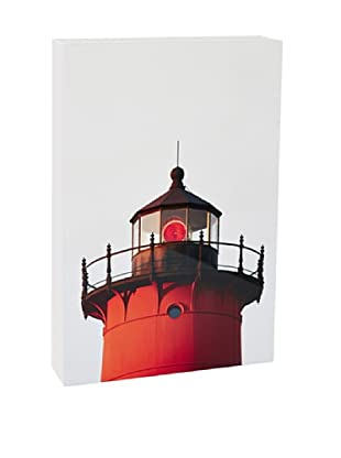 Art Block Red Lighthouse - Fine Art Photography On Lacquered Wood Blocks