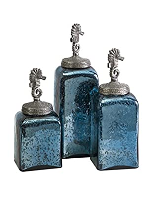 Set of 3 Hammered Glass Seahorse Canisters