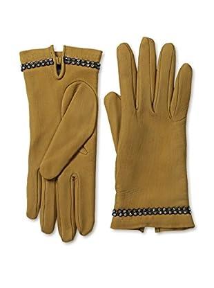 Portolano Women's Cashmere Lined Gloves with Stones (Honey)