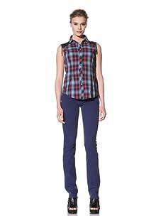McQ by Alexander McQueen Women's Sleeveless Plaid Shirt (Blue)