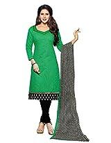 Shree Vardhman Green Chanderi Straight Unstiched Salwar Suit Dress Material