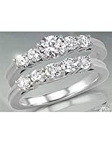 0.66TCW L/SI2 Cert Diamond Engagement Wedding Ring Set
